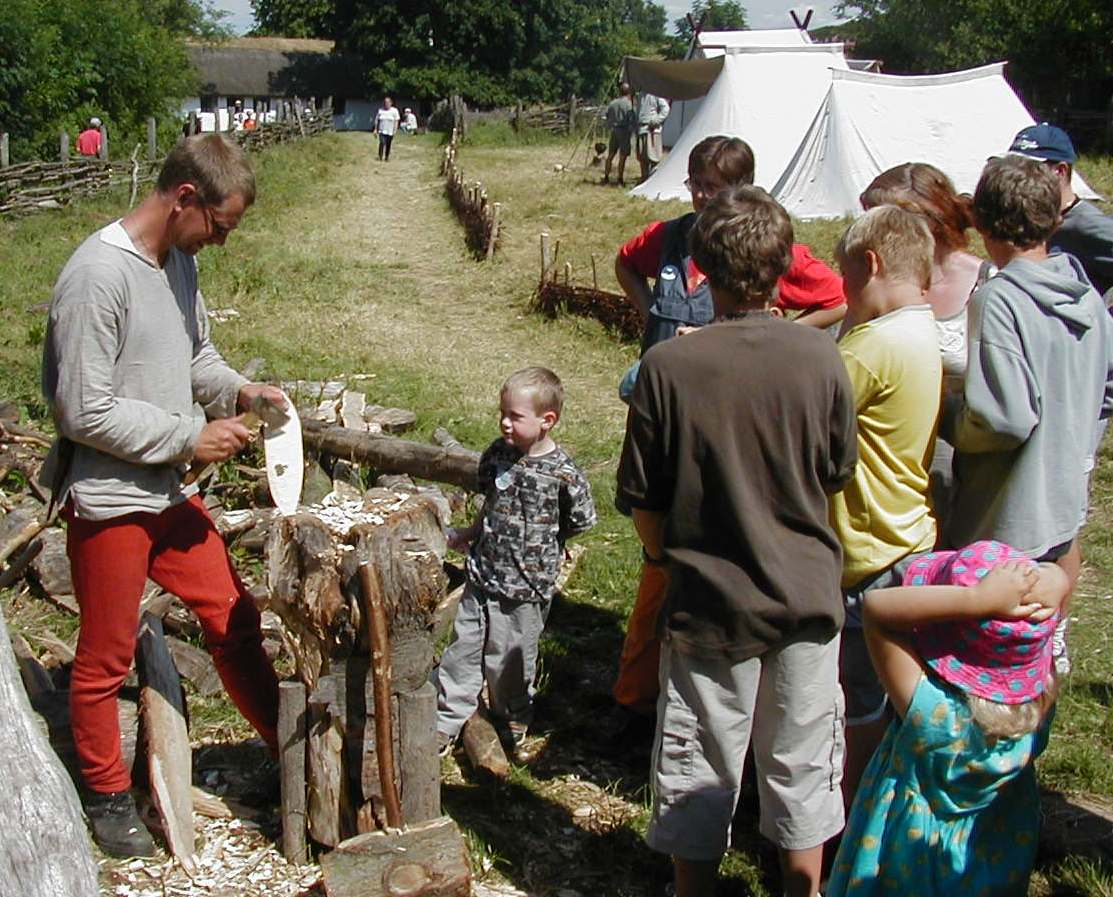 Chilld with autism visits a Viking village
