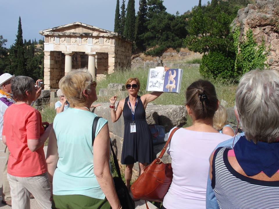 Tourist Guide at Delphi, Greece