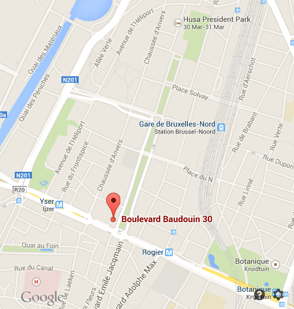Map showing location of Boudewijnlaan 30, Brussels.